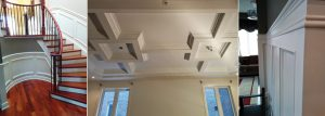 Coffered Ceiling and wall decor in custom home complete home renovation Barrie
