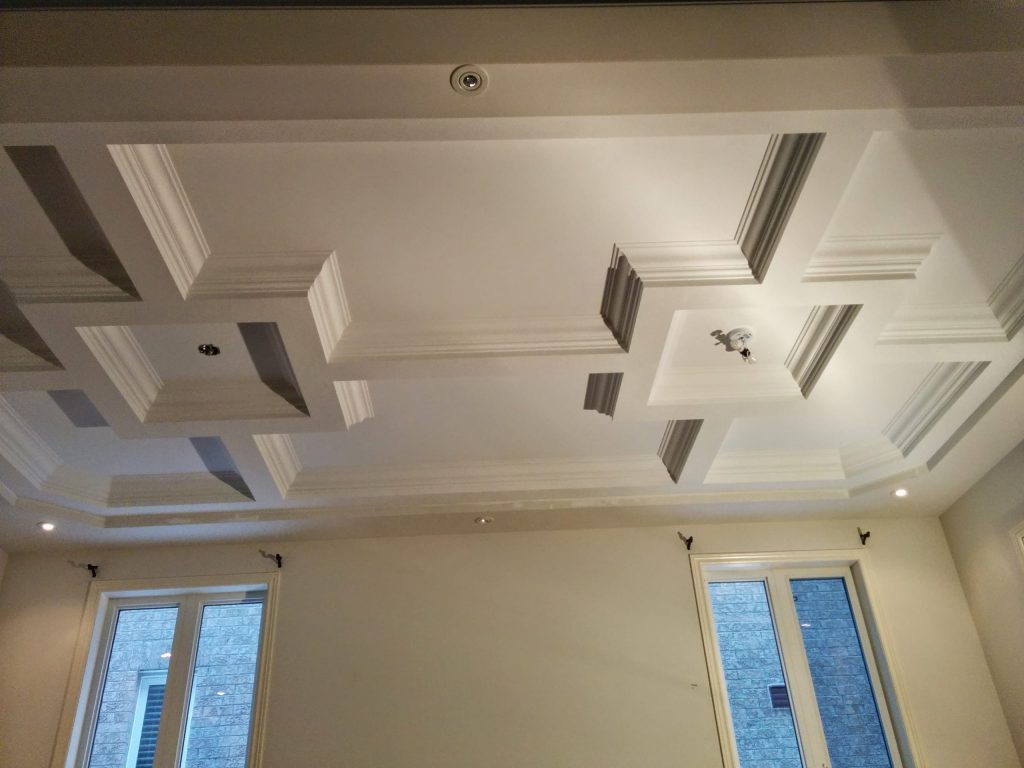 amazing coffered ceiling in custom living room toronto