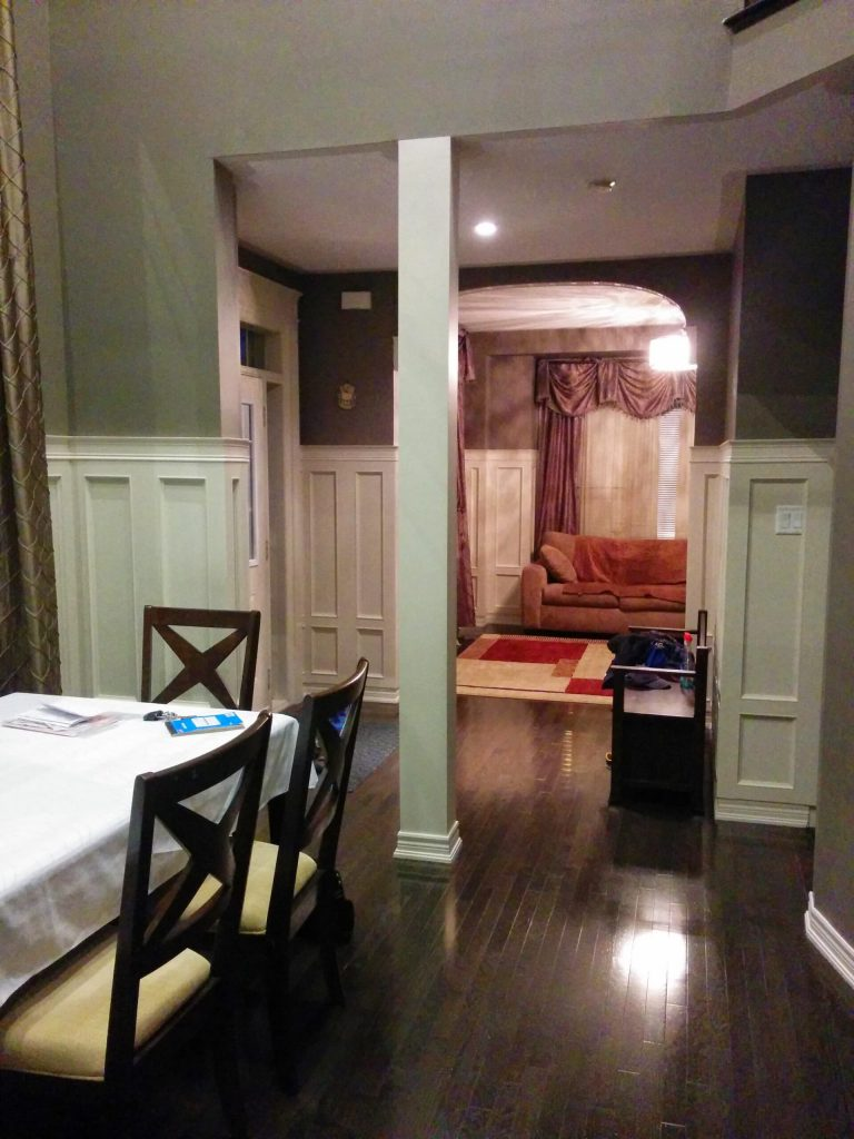amazing dining room with coffered wall decor and baseboard trim - kitchen renovation Woodbridge