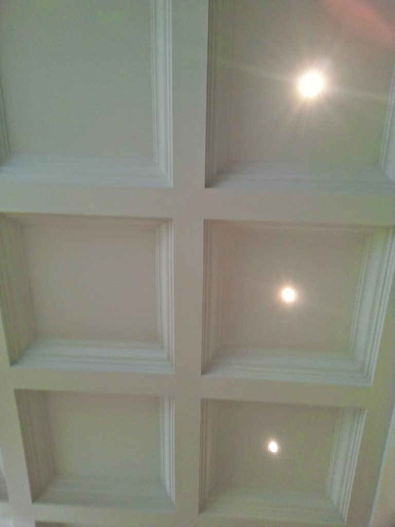 amazing living room with waffle ceiling trim toronto