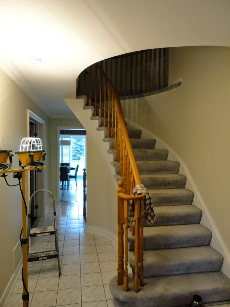 before hallway and staircase home renovation mississauga
