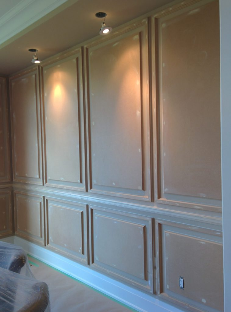 coffered wall decor installation in progress by refined renos - crown molding King city
