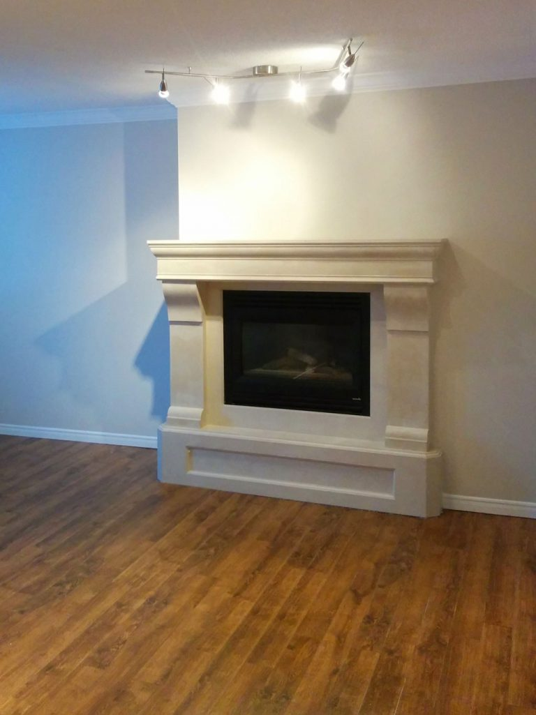custom fire place in luxury living room-home renovation by refined renos toronto