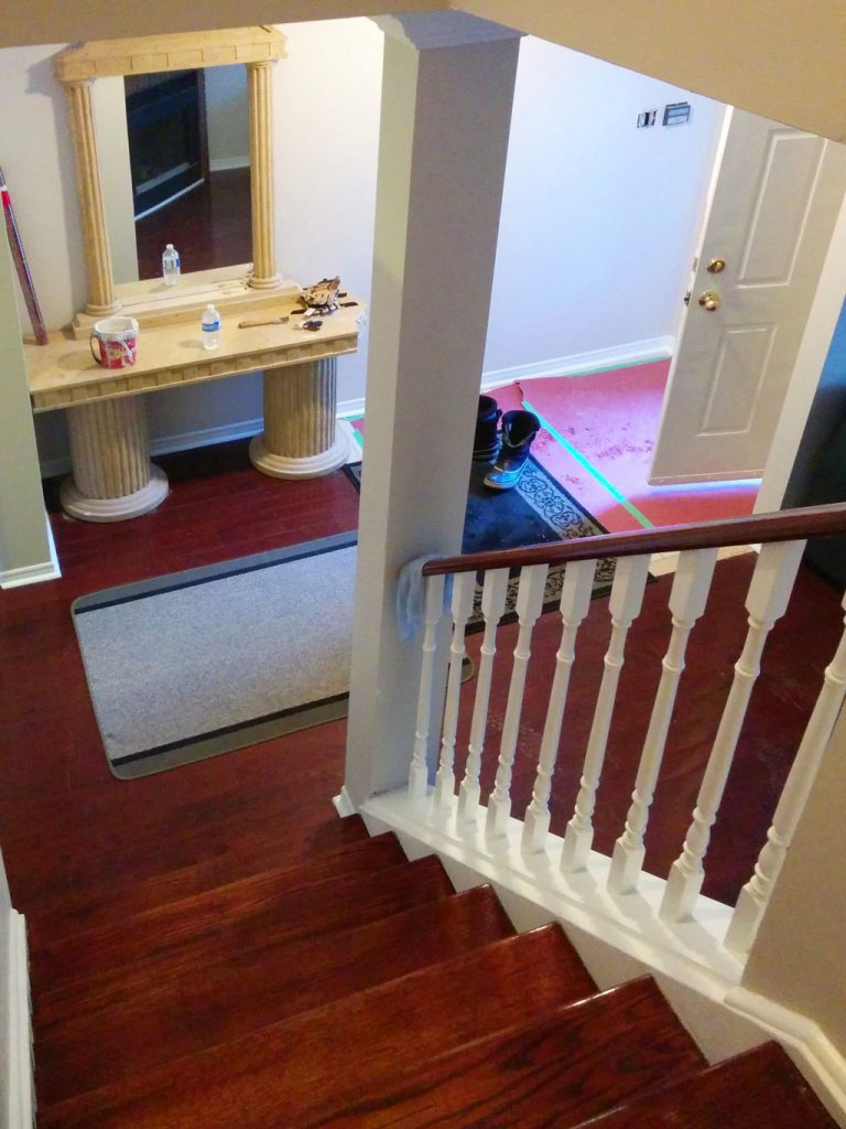 custom home with small luxury staircase and wooden railings toronto