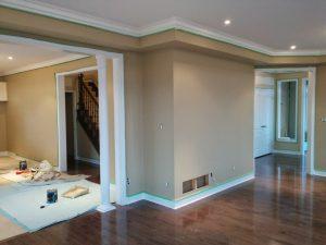 decor columns and baseboard trim in custom home renovation Woodbridge