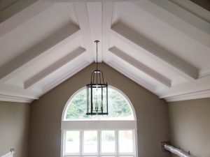 finished coffered ceiling trim in custom home by refined renos Richmond hill