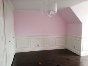 kids room with pink wall paint and coffered trim vaughan