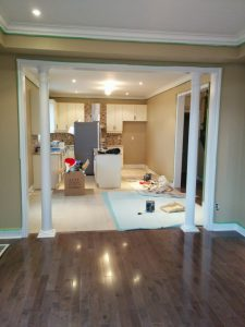 kitchen hallway with luxury columns trim decor refined renos kitchen renovation company toronto