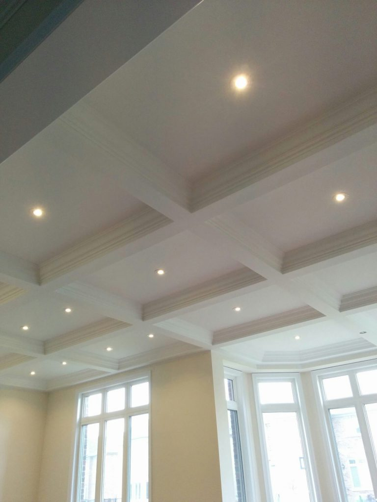 luxury coffered ceiling and potlights in custom living room by refined renos Bradford