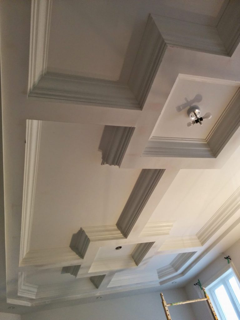luxury coffered ceiling in custom living room Richmond hill
