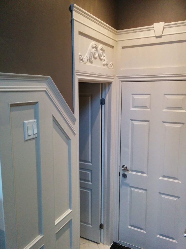 luxury hallway with coffered walls decor  - home renovation Barrie