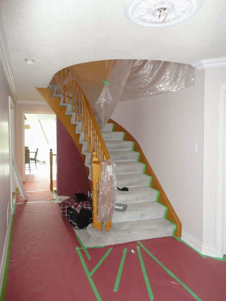 luxury home remodeling with staircase and railings replacement north york