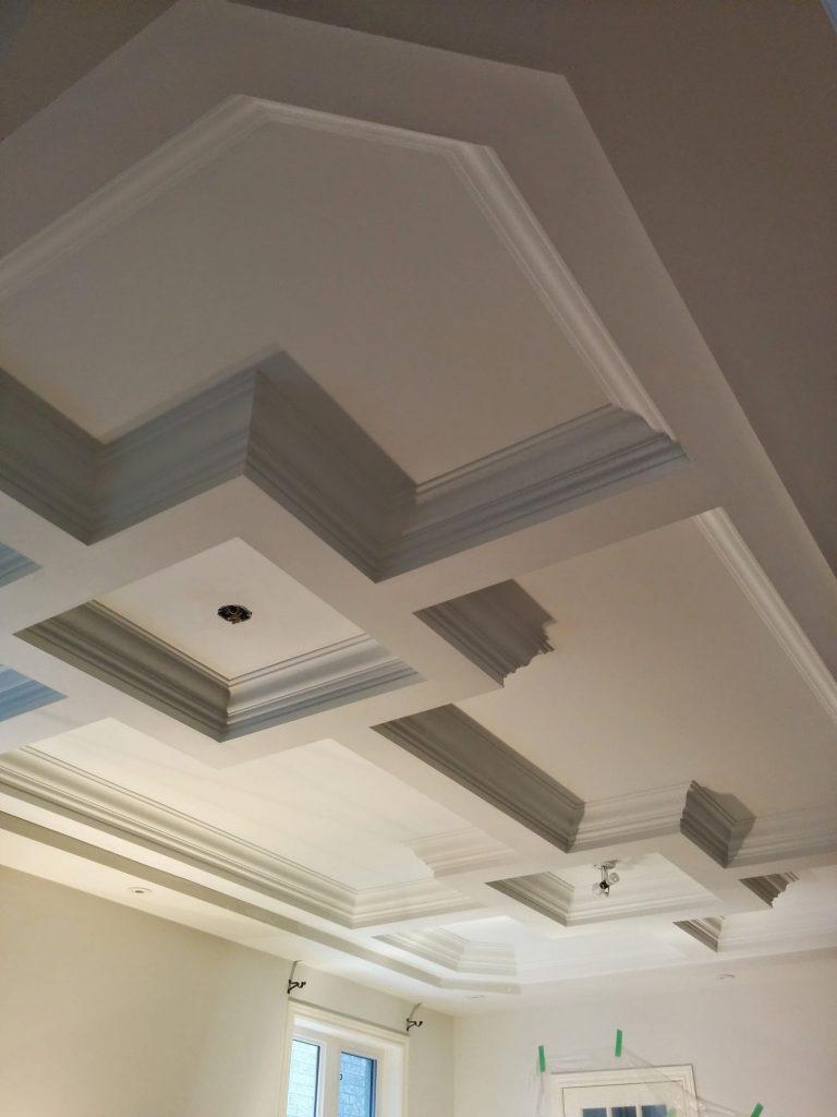 modern coffered ceiling installation in custom home aurora