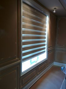 office-wainscoting wall decor around the window - crown molding contractor toronto