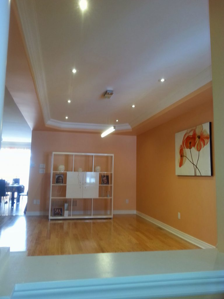 small living room with orange wall painting and wooden floor newmarket