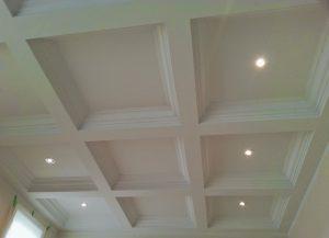 waffle ceiling trim in custom living room aurora