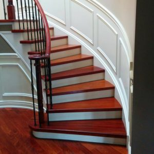 Wainscoting trim on luxury staircase in custom home by refined renos richmond hill