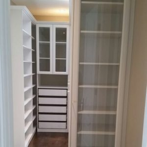 closet room with storage cabinets in custom bathroom remodeling aurora