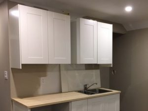 kitchen-cabinets-installation in custom basement renovation Richmond hill