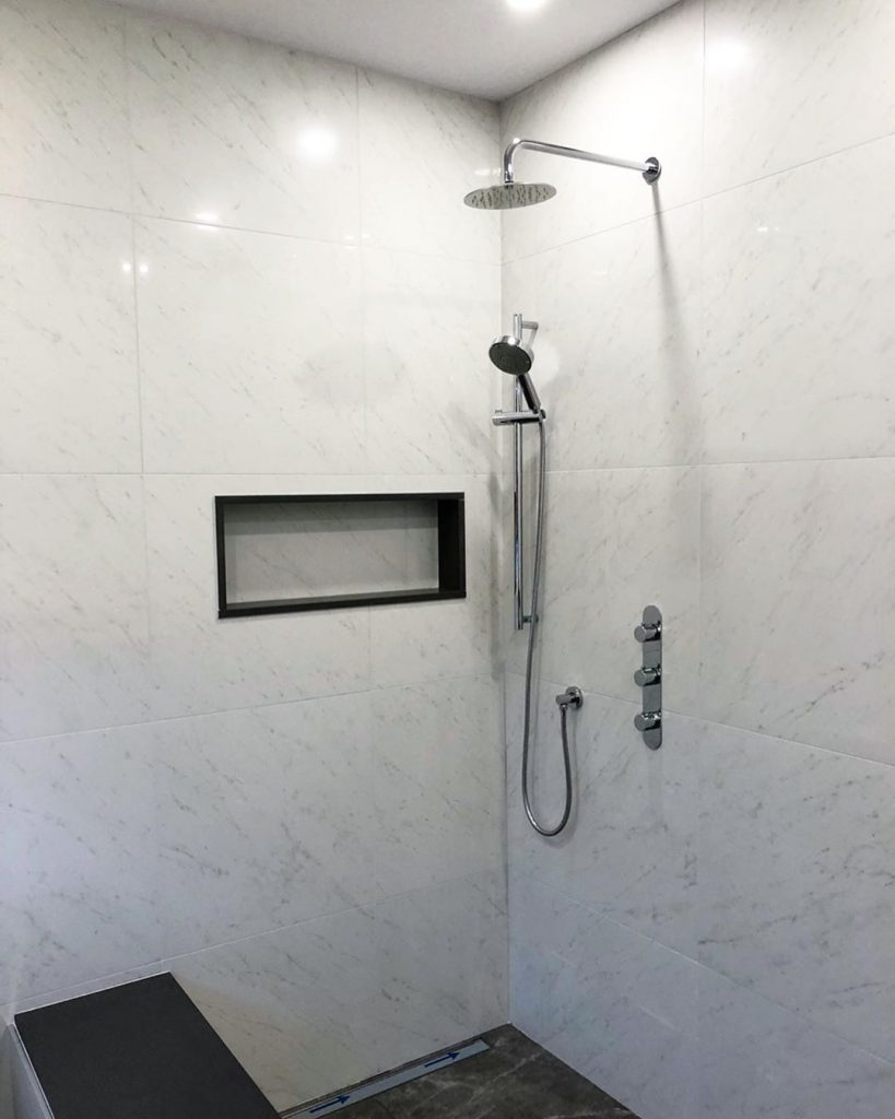 accessible shower bench room finishing