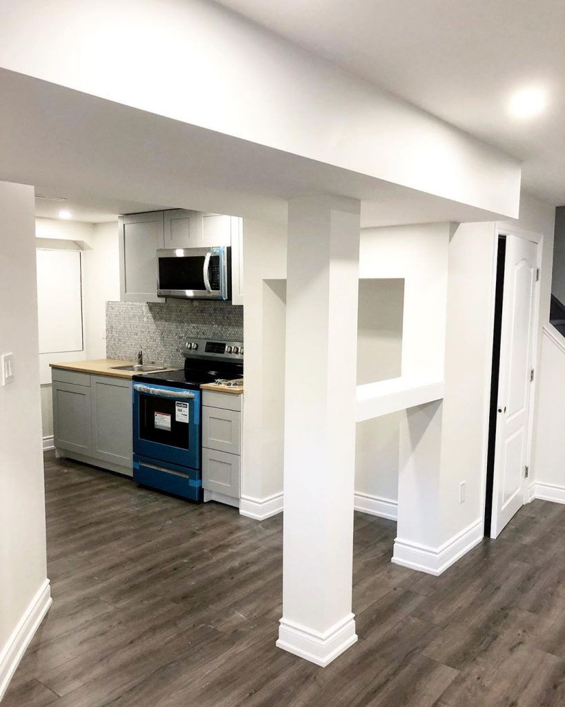 basement-renovation-small kitchen with gray cabinets-second suite king city