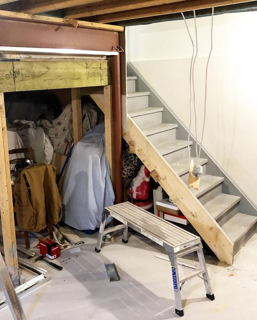 basement stairs renovation before