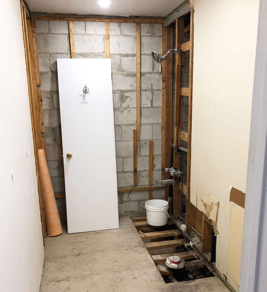 basement washroom renovation before