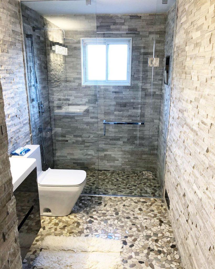 bathroom renovation in a basement