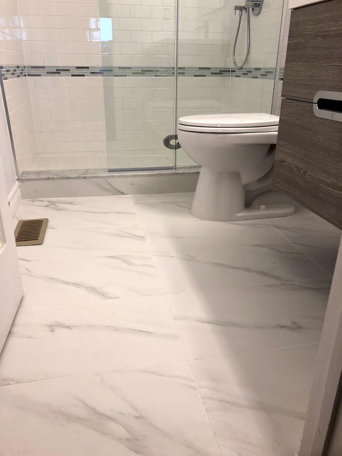 luxury floor in amazing bathroom renovation