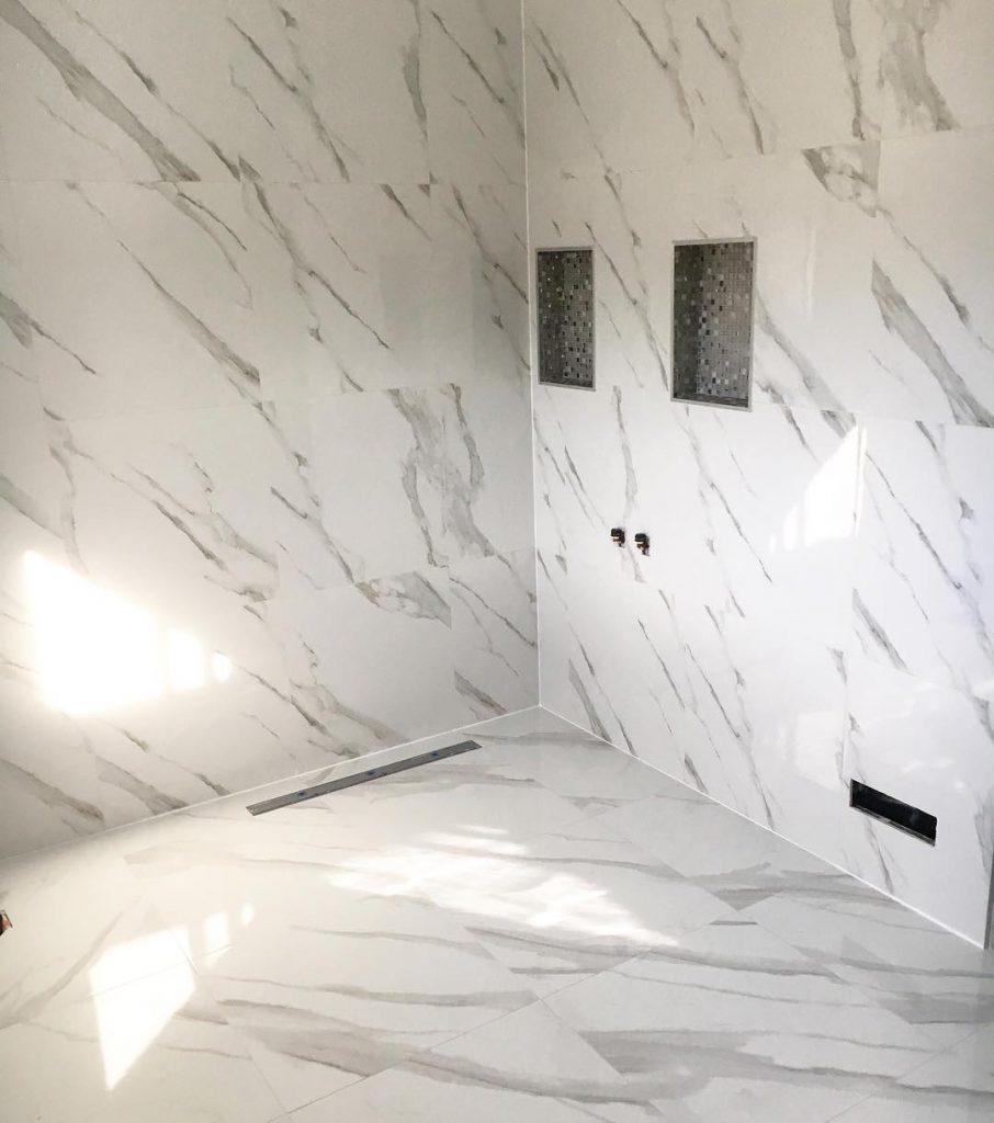 white marble tiling renovation
