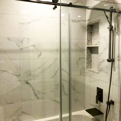 3 way shower system with glass enclosure - small bathroom renovations