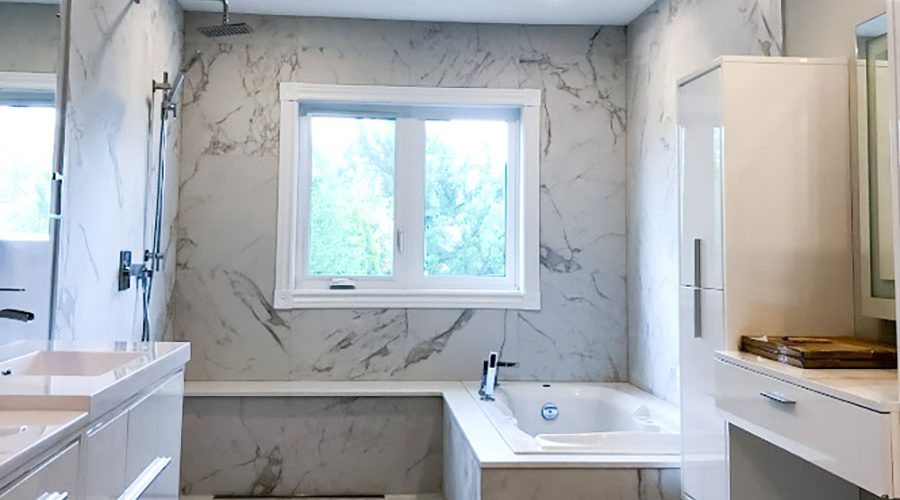 amazing bathroom with marble wall decor and walk in shower - bathroom renovation ideas
