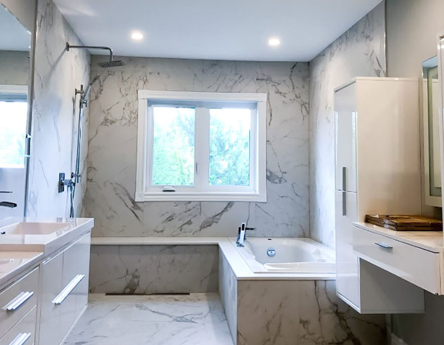 amazing bathroom with marble wall and floor decor - bathroom renovation ideas