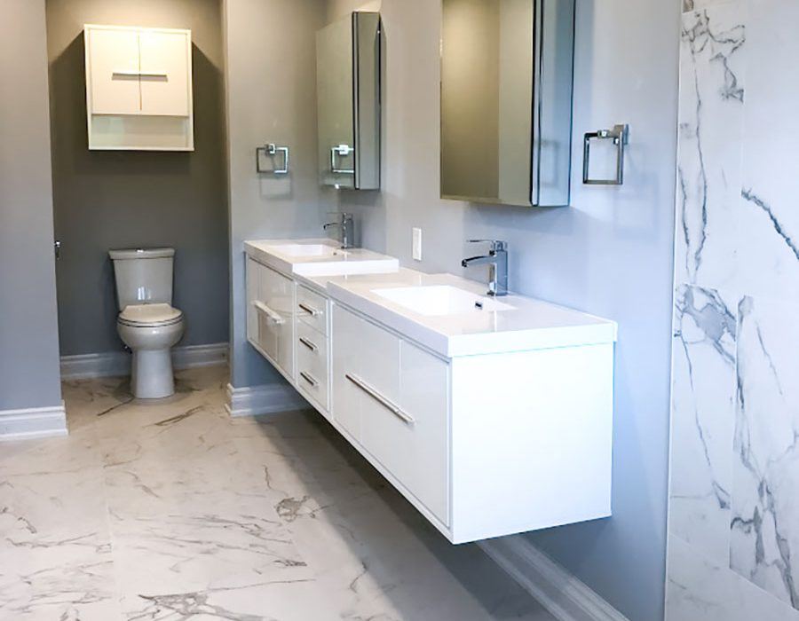 amazing bathroom with gray wall painting and marble wall and floor decor - bathroom reno ideas