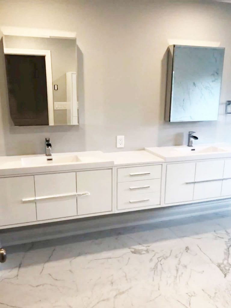 wall mounted long vanity with double sink and mirror - bathroom renovations