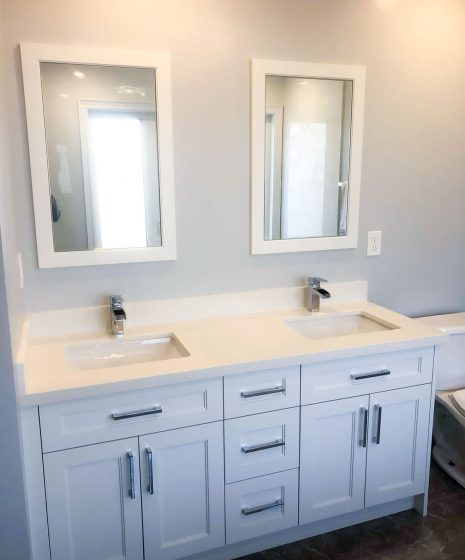double vanity in luxury bathroom - small bathroom renovations