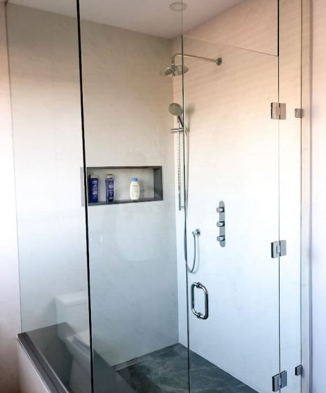 glass enclosure on custom shower - bathroom renovations
