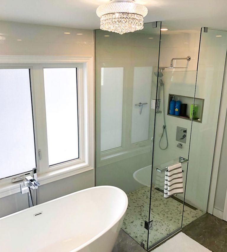 Luxury Bathroom with Walk in Shower and Freestanding Bathtub