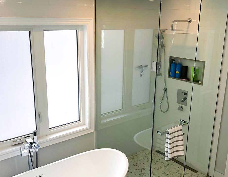 luxury bathroom with walk in shower and freestanding bathtub - bathroom renovations