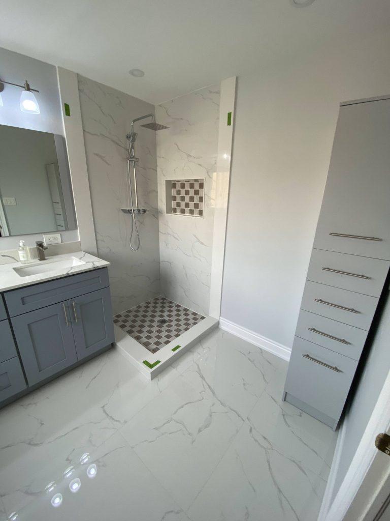 storage unit in luxury bathroom maple