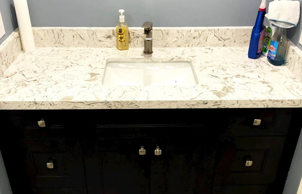 amazing marble counter top on vanity in finished bathroom